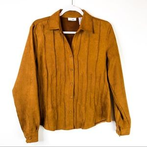VTG Lee Faux Suede Western Brown Button Down